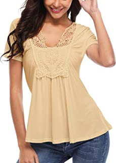 MISS MOLY Peasant Tops for Women Ruched Front Lace V Neck Cute Peplum Shirt Tees