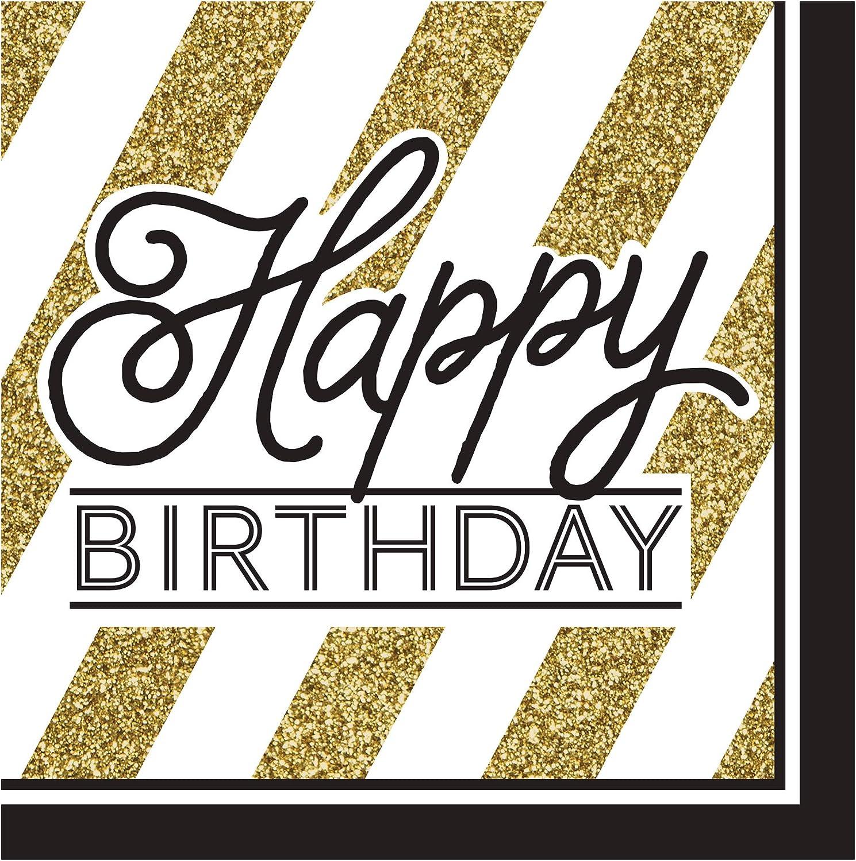 COOLMP – Set di 12 – 16 tovaglioli Happy Birthday Nero e oro 33 cm – Taglia Unica – Decorazione Accessori per Feste, Animazione, Compleanno, Matrimonio, Eventi, Giocattoli, Ptuttioncino