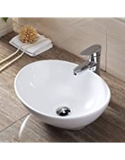 洗面ボウル Lifinsky 洗面台 白陶器製 手洗いボウル 舟型洗面器 ベッセル式 手洗器 排水金具付き 3点セット 410x340x143mm
