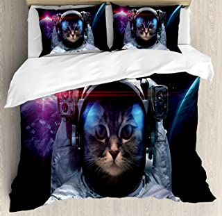 Fantasy Star Twin XL Extra Long Bedding Set, Space Cat Duvet Cover Set, Cosmonaut Kitty in Galaxy Cosmos Nebula Stars with Eclipse Image, Include 1 Flat Sheet 1 Duvet Cover and 2 Pillow Cases