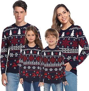 Aibrou Suéter de Navidad Familia Pullover de Punto Jerséis para Mujer Hombre Invierno Manga Larga Jersey Navideño para Niñ...