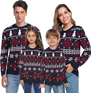 Hawiton Family Matching Ugly Xmas Sweaters Long Sleeve Christmas Reindeer Sweater Festive Pullover