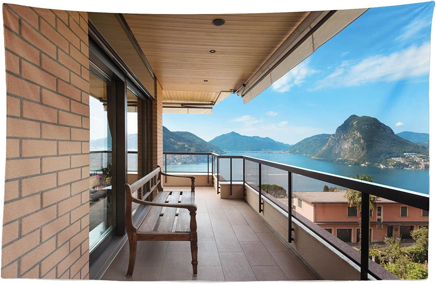 Lunarable Modern Tapestry, Lugano Lake Panoramic View from The Terrace of Apartment Mountains and Sea, Fabric Wall Hanging Decor for Bedroom Living Room Dorm, 45