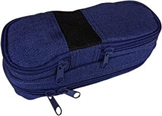 AxeSickle Pencil Case Multi Zipper Pen Holder Pouch, Burlap Stationery Bag, Dark Blue Pencil Holder Pen Bag Pouch Organizer for School.