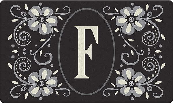 Toland Home Garden Classic Monogram F 18 X 30 Inch Decorative Floor Mat Flower Design Pattern Doormat