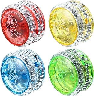 Sumind 4 Pezzi Yo-Yo Luce a LED Yo-Yo Plastica Risposta Yoyo Divertente per Bomboniere Principianti (Colori Casuali)