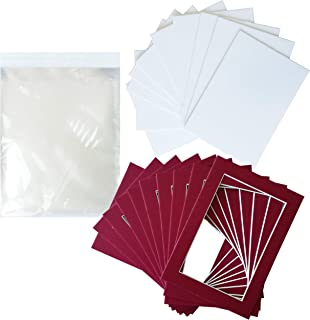 Studio 500 Pack of 10 Red Pre-Cut Picture Mat 5x7 inches for 4x6 Red Photo Matt with White Core Bevel Cut Mattes Sets + Backing Board + Clear Plastic Bags (Pack of 10 Red 5x7 Complete Set)
