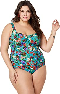 92bb0ab73b Avenue Women's Twist Front Turquoise Floral Swimsuit with Tummy Control
