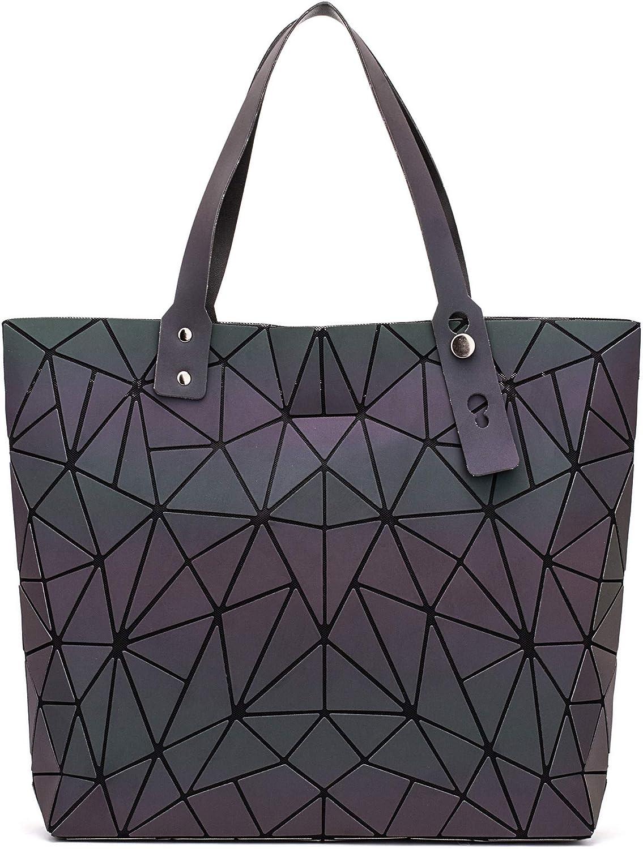 Geometric Luminous Holographic Purses and Handbags Flash Reflactive Tote for Women