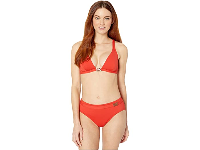 Michael Kors Logo Solids Triangle Top Persimmon Swimwear