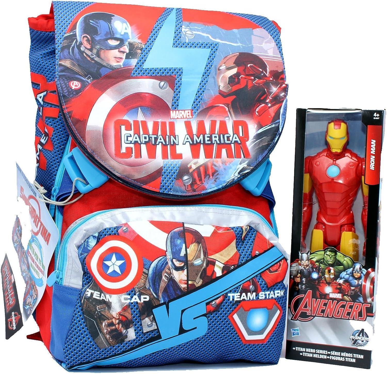 Marvel Civil War Captain America Doppel-Rucksack B01GGAL0TC | Spielen Sie auf der ganzen Welt und verhindern Sie, dass Ihre Kinder einsam sind