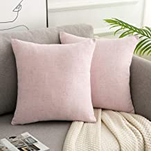 WLNUI Pink Pillow Covers Set of 2 Decorative Square Throw Pillow Covers Cotton Linen Cushion Case for Sofa Couch Home Farm...