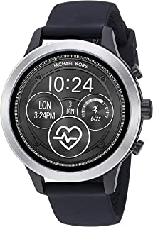 Michael Kors Women's Access Runway Touchscreen Watch with Stainless Steel and Silicone Strap, Black, 18 (Model: MKT5049)