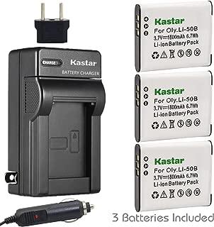 Kastar Battery (3-Pack) and Charger Kit for Olympus LI-50B, LI-50C, Pentax D-LI92, Panasonic VW-VBX090 and Olympus Stylus,Tough Series, Pentax Optio Series, Panasonic HX-WA03 WA2 WA20 WA3 WA301 Camera