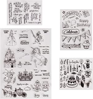 Fairytale Castle Kingdom Princess Prince Happy Birthday Clear Stamps For DIY GIFTS Scrapbooking Decoration Card (Magic Fairy Birthday)