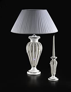 Ceramiche Stella, lampada Atena grande in ceramica bianca con paralume in stoffa tutto fatto a mano, con Swarovski, rifini...