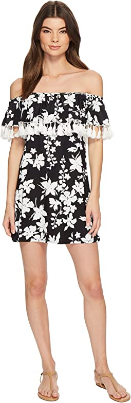 MICHAEL Michael Kors Floral Vine Off the Shoulder Cover-Up Dress w/ Tassels & Detachable Strap