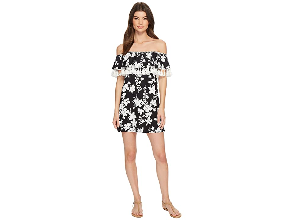 MICHAEL Michael Kors Floral Vine Off the Shoulder Cover-Up Dress w/ Tassels Detachable Strap (Black) Women