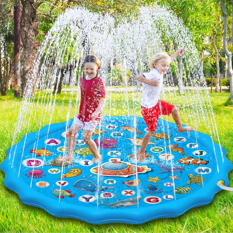 Paochocky Splash Pad de Verano de 170 cm, Salpicaduras Juegos de Agua para niños y niñas en Aire Libre Jardín Actividades Familiares