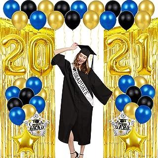 Graduation Decorations 2021 Balloons Props - 40 Inch Large 2021 Balloons + 2 Gold Curtains, 10 Gold Balloons,10 Blue Ballo...