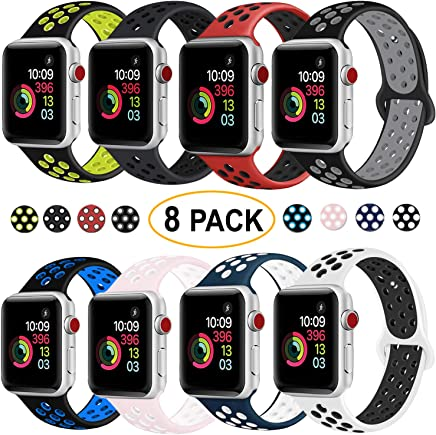 DOBSTFY Compatible with iWatch Bands 38mm 40mm 42mm 44mm,Soft Silicone Sport Band Replacement Wristband