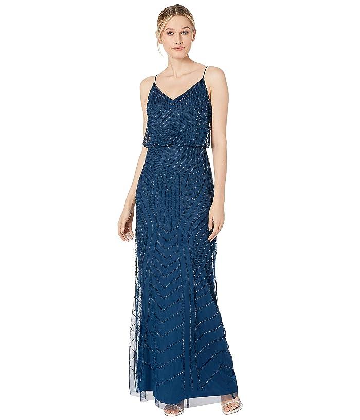 Adrianna Papell Beaded Blouson Evening Gown (Deep Blue) Women