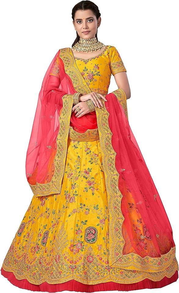 Yellow Silk Embroidered Lehenga Choli with Dupatta