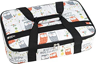 Palais Dinnerware Insulated Casserole Carrier - With Zip Closure - Attractive Design, with Strap and Side Pocket (Happy Holidays Owl)