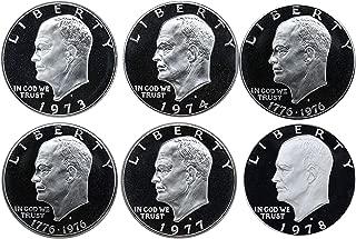 1973 S -1978 S Eisenhower Ike Dollars Gem Proof Run 6 Coins US Mint Decade Lot Complete 1970's Set Gem Proof