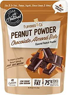 Flavored PB Co. Chocolate Almond Peanut Butter Powder, Low Carb and Only 45 Calories, All-Natural from US Farms (8 oz.)