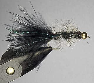 Eliteglobal 1 Dozen (12 Flies) - Woolly Bugger(Size 8) - Black & Grizzly - Bead Head Wet Flies Fly Fishing Flies Kit Bass Salmon Trouts