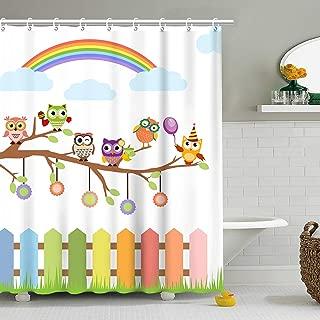 Stacy Fay Owls Shower Curtain, Owls on a Branch Rainbow in Countryside Farmhouse Fences Grass Holidays Art, Cloth Fabric Bathroom Decor Set with Hooks, 70.8