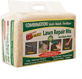 EZ Straw MLEZSUNSHD114 Lawn Repair Mix – Sun/Shade Blend – Combination Seed, Mulch, Fertilizer (11 lb. Covers 200 sq. ft.)