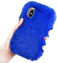 Pluche Hoes voor iPhone 7 Plus/8 Plus, LCHDA Pluizig Schattige Kunstmatig konijnenbont Haar Leuk Glad Wazig Pluis Zacht Ha...