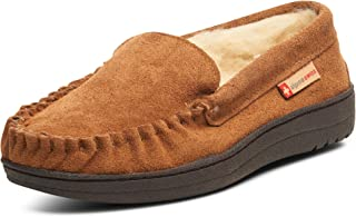 Yukon Mens Genuine Suede Shearling Slip On Moccasin Slippers