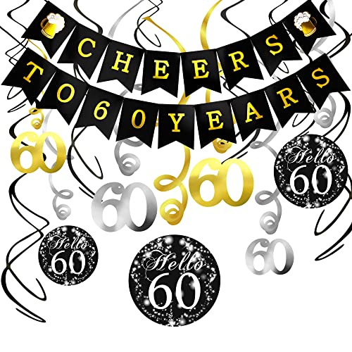 60th Birthday Decorations Kit Konsait Cheers To 60 Years Banner Swallowtail Bunting Garland Sparkling Celebration