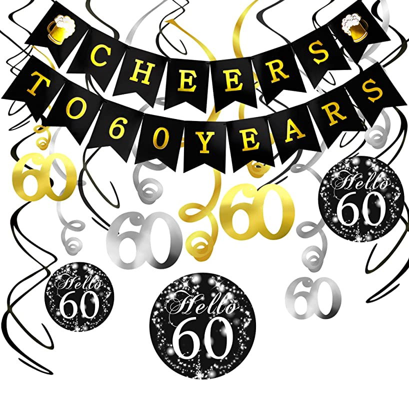 60th Birthday Decorations Kit- Konsait Cheers to 60 Years Banner Swallowtail Bunting Garland Sparkling Celebration 60 Hanging Swirls,Perfect 60 Years Old Party Supplies 60th Anniversary Decorations