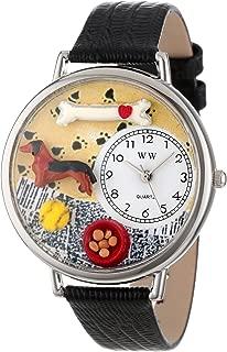 Whimsical Watches Unisex U0130034 Dachshund Black Skin Leather Watch