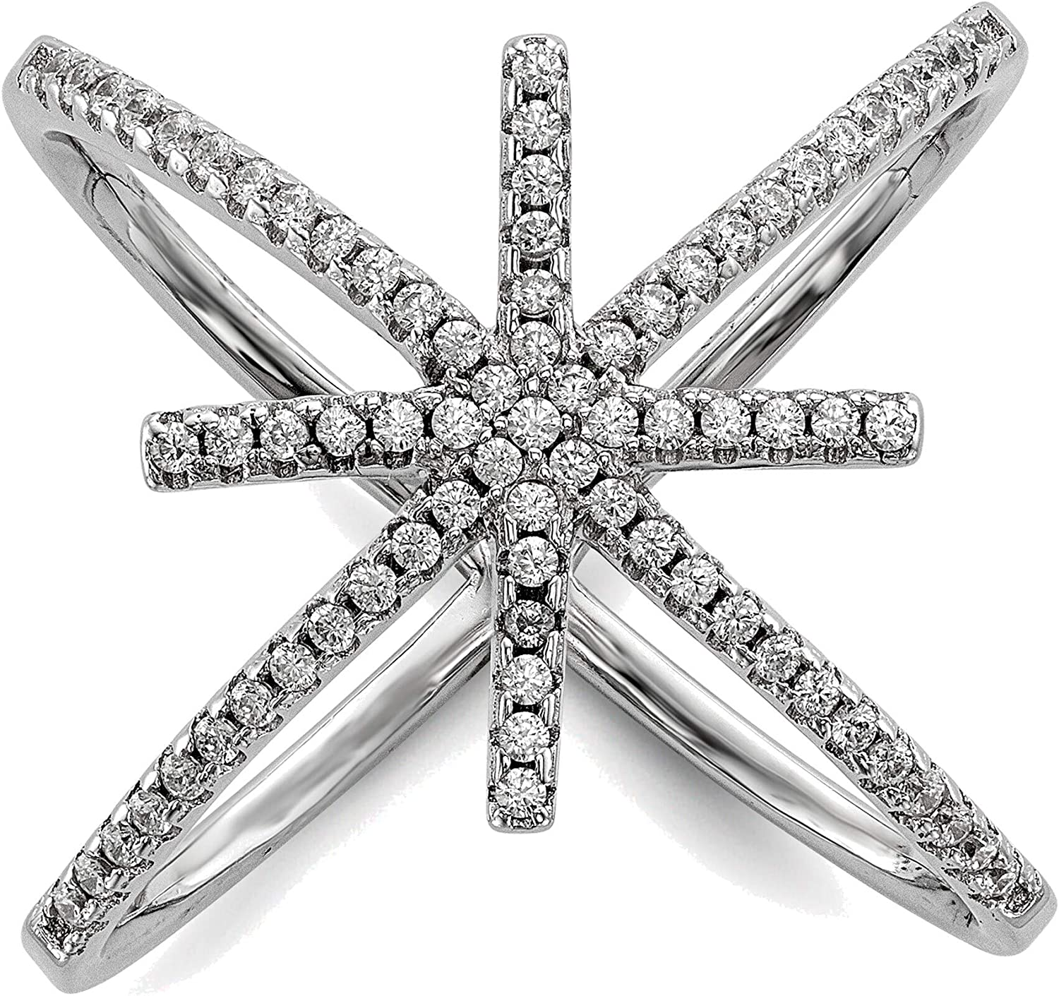Bonyak Jewelry OFFicial shop Solid Sterling Silver CZ Rapid rise Cris Star Rhodium-Plated