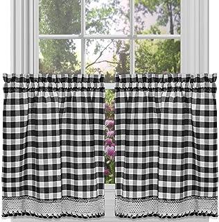 "Achim Home Furnishings Tier Pair Buffalo Check Window Curtain, 58"" x 24"", Black & White"