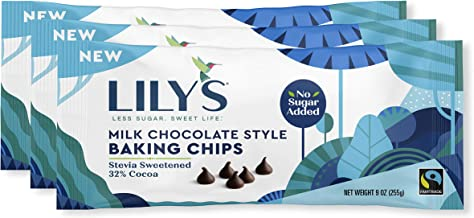Milk Chocolate Baking Chips By Lily's | Stevia Sweetened, No Added Sugar, Low-Carb, Keto-Friendly | 32% Cocoa | Fair Trade, Gluten-Free & Non-GMO | 9 ounce, 3-Pack