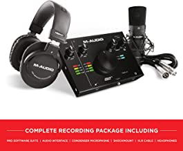 M-Audio Complete Recording Package-2-In/2-Out 24/192 USB Audio Interface with Condenser Microphone, Shockmount, XLR Cable, Headphones Software Suite (AIR 192 4 Vocal Studio Pro)