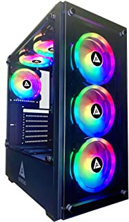 Apevia Genesis Pro G-PRO-BK Mid Tower Gaming Case with 2 x Tempered Glass Panel, Top USB3.0/USB2.0/Audio Ports, 6 x RGB Fa...
