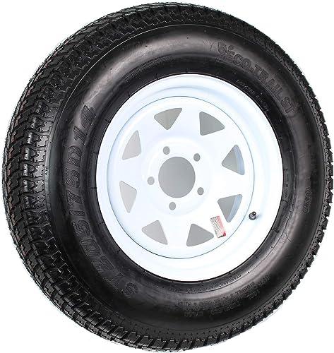 "14"" White Spoke Trailer Wheel with Bias ST205/75D14 Tire Mounted (5x4.5) bolt circle"