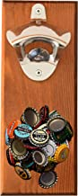 Wall Mounted Bottle Opener with Magnetic Cap Catcher - Beer Opener for Men & Women - Funny Birthday Present Idea and Unique Housewarming Gift Wood