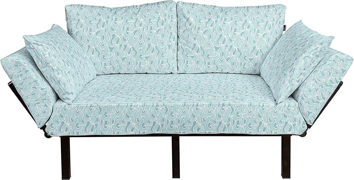 Ambesonne Max 42% OFF Aqua Futon Couch Abstract Victoria Chicago Mall Ikat Frame Antique