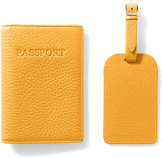 Dodge Challenger Side View Yellow Leather Passport Holder Cover Case Travel One Pocket