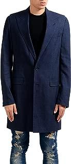 Maison Margiela 10 Men's Wool Silk Linen Navy Blazer Coat