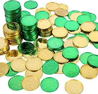 Sponsored Ad - Elcoho 240 Lucky Plastic St. Patrick`s Day Coins Green and Gold Shamrock Coins Table Sprinkles for St. Patr...