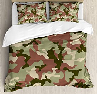 Ambesonne Camo Duvet Cover Set Queen Size, Illustrated Green Camouflage in Forest Colors Hunter Theme, Decorative 3 Piece Bedding Set with 2 Pillow Shams, Dark Green